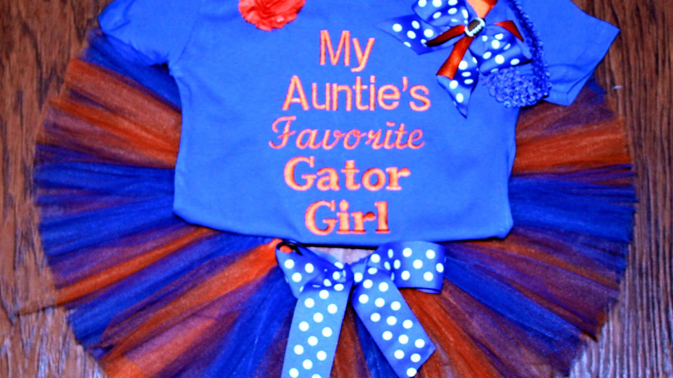 Orange and blue girl football outfit Auntie's favorite gator