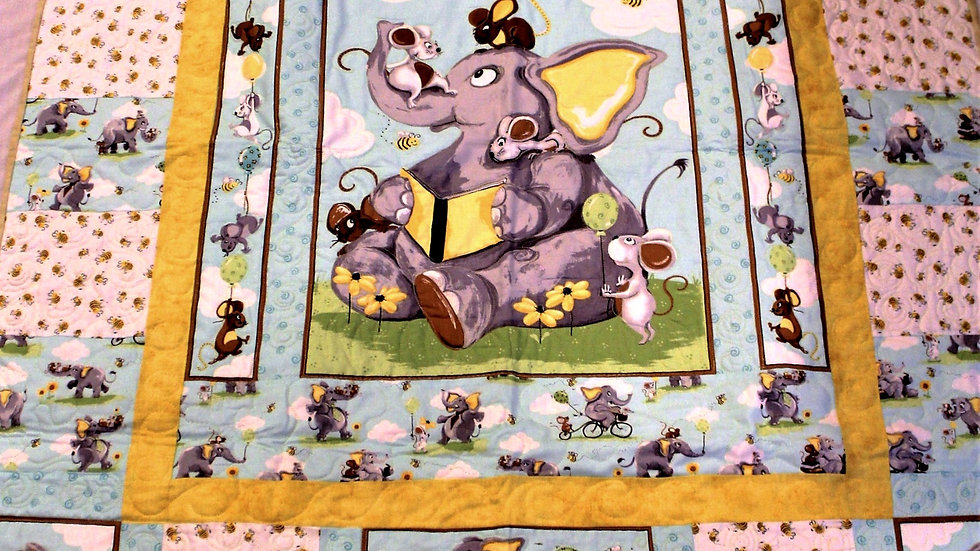 Elephant baby quilt for boy or girl, aqua blue, yellow, and gray handmade