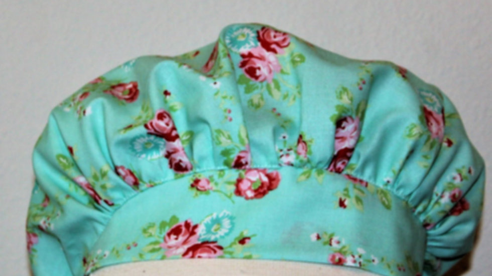 Spring shabby chic aqua blue and pink roses scrub cap