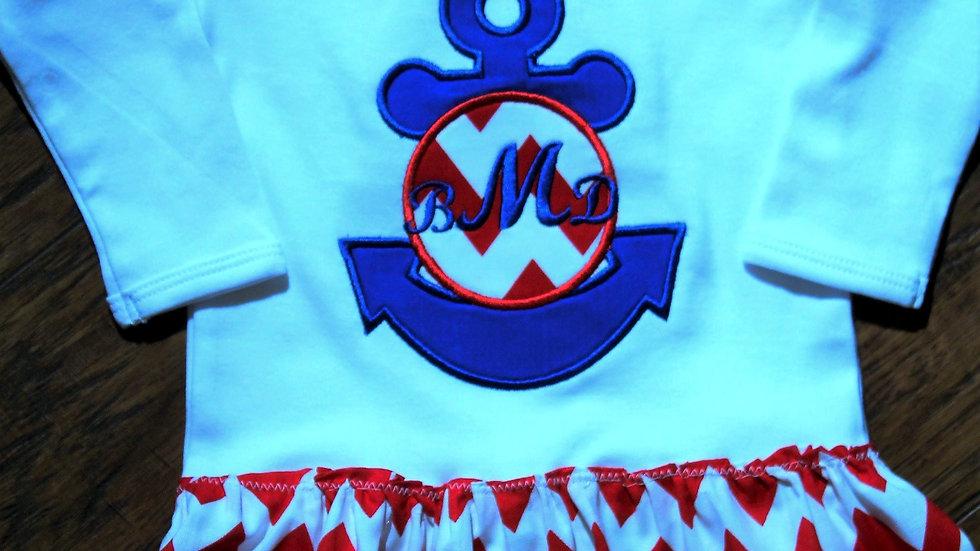 Nautical anchor mongram baby girl bodysuit dress