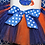 Thumbnail: Baby girl cheerleader outfit orange and blue tutu football bodysuit