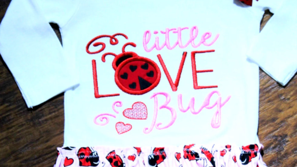 Ladybug bodysuit dress, red and pink, Valentine's Day shirt