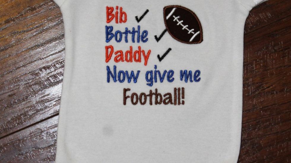 Bib bottle daddy football bodysuit baby boy gift baby shower