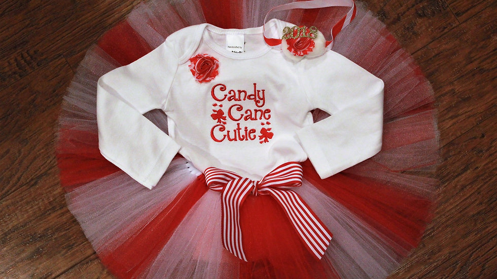 Candy cane cutie girl red and white Christmas tutu outfit