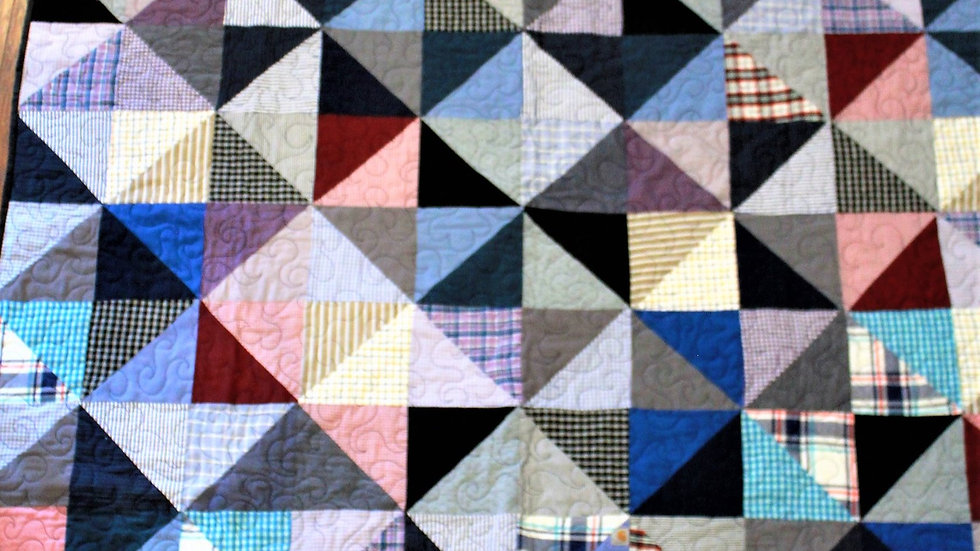Quilt made from men's clothing memory quilts patchwork handmade remembrance