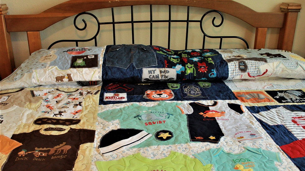 King size boys clothing quilt memory quilt from kids clothing recycled clothes