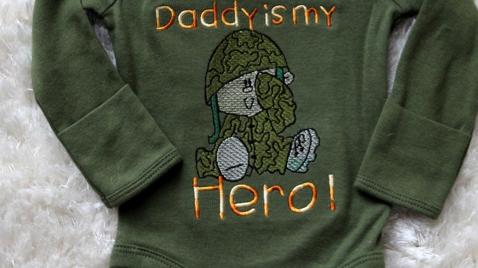 Army green Daddy is my Hero bodysuit, baby boy gift, baby shower gift