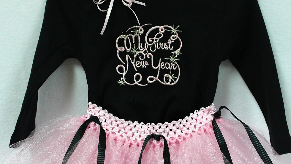 Pink and black baby girl 1st New Year outfit, first New Year's Eve shirt