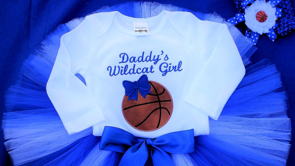 Daddy's Wildcat girl basketball outfit blue and white baby girl tutu necklace