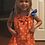 Thumbnail: Girl and doll orange and blue pillowcase dress and necklace