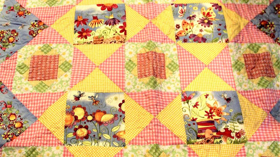 Twin size pastel fairy garden handmade patchwork quilt for girl