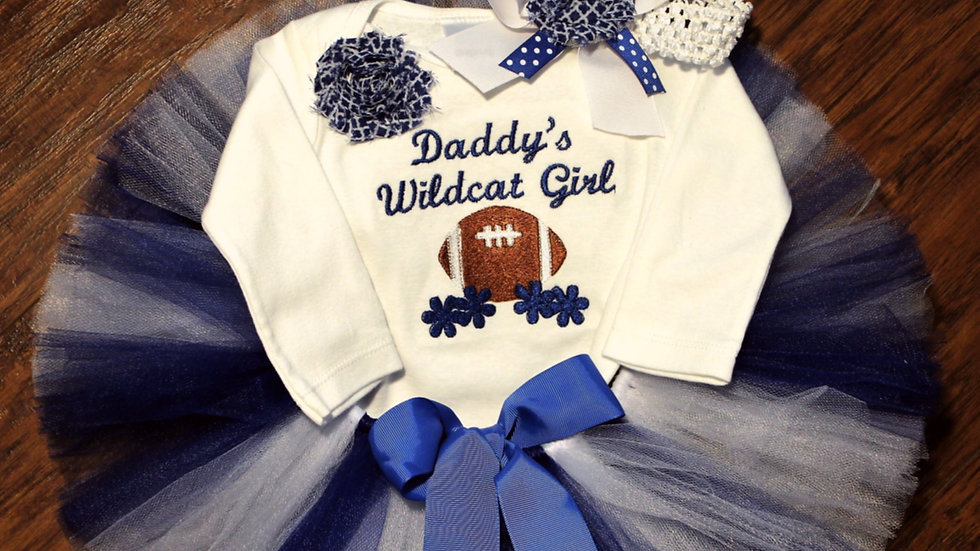 Blue and white Wildcat football Daddy's girl outfit