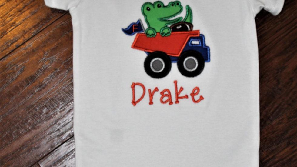 Baby boy alligator dump truck bodysuit gator baby boy gift