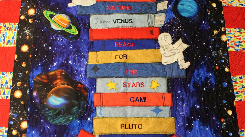 Outerspace wallhanging inspirational boys quilt