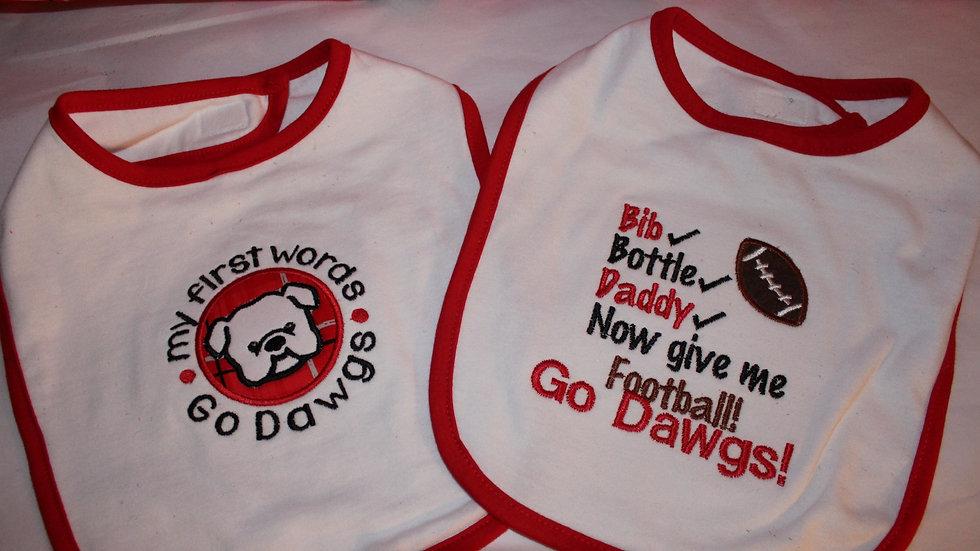 Baby boy bib red and black bulldog sports baby bibs