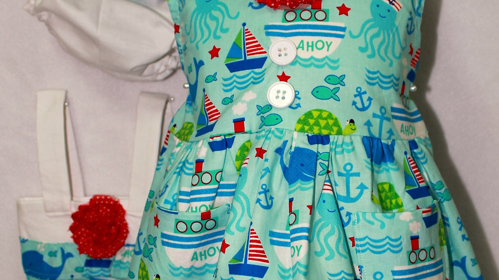 Nautical beach sundress toddler girl aqua blue sailboat summer dress for girls