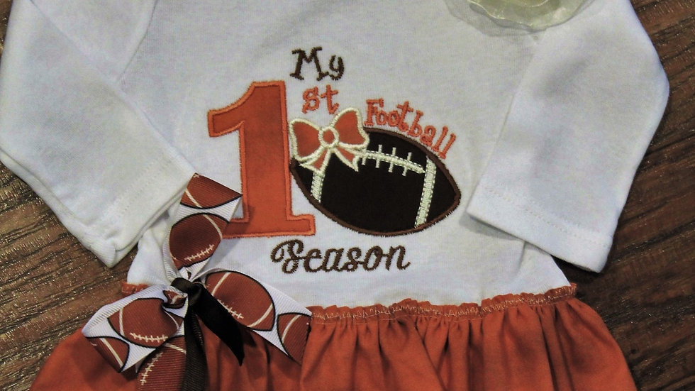 Baby girl 1st football dress burndt orange and white bodysuit Texas