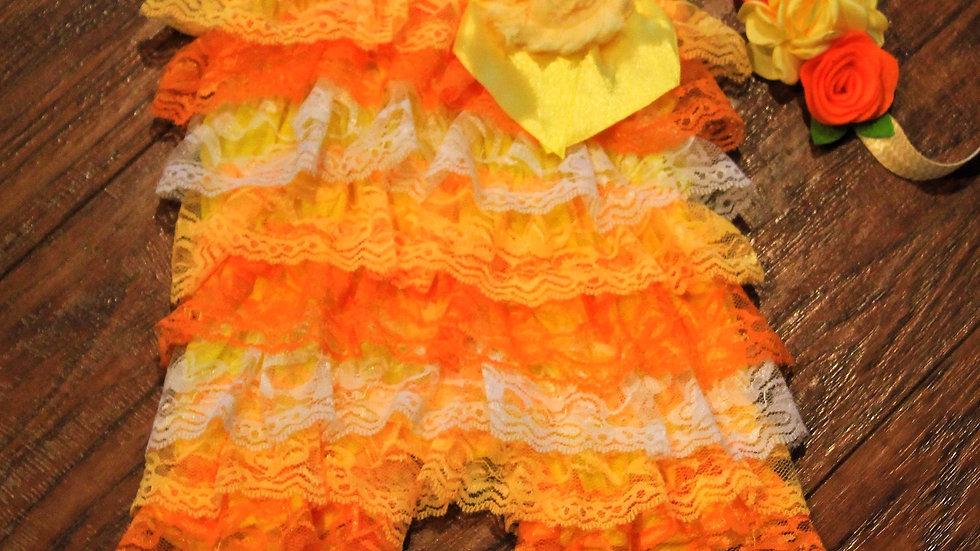 Candy corn petti romper orange yellow lace romper Halloween outfit