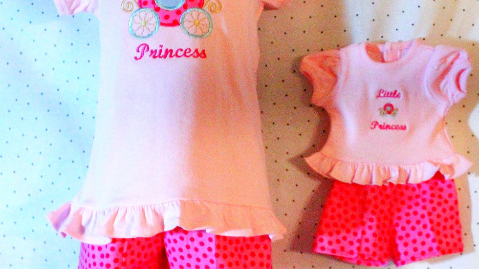 "Girl and doll matching clothing pink princess shirt 18"" doll clothes"