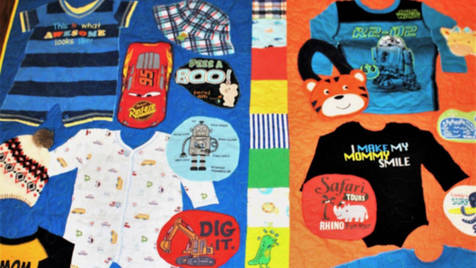 Personalized 1st year baby clothes memory quilt