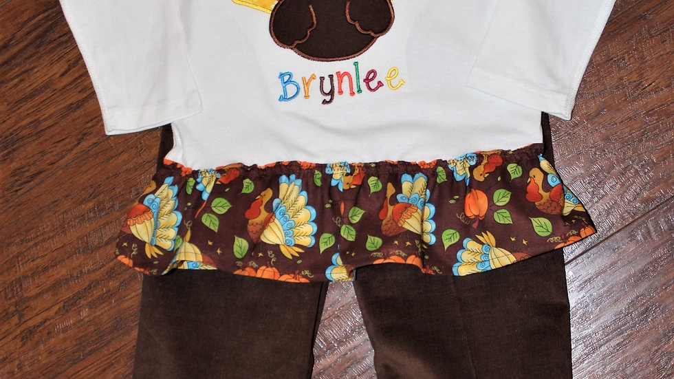 Thanksgiving personalized girl turkey shirt and pants brown corduroy pants