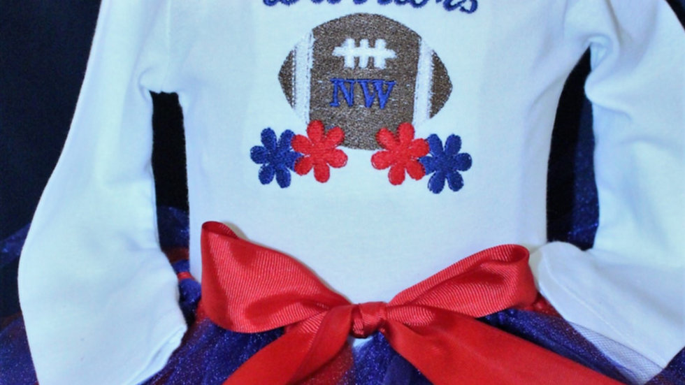 Baby girl Sports cheerleader football outfit red white blue team