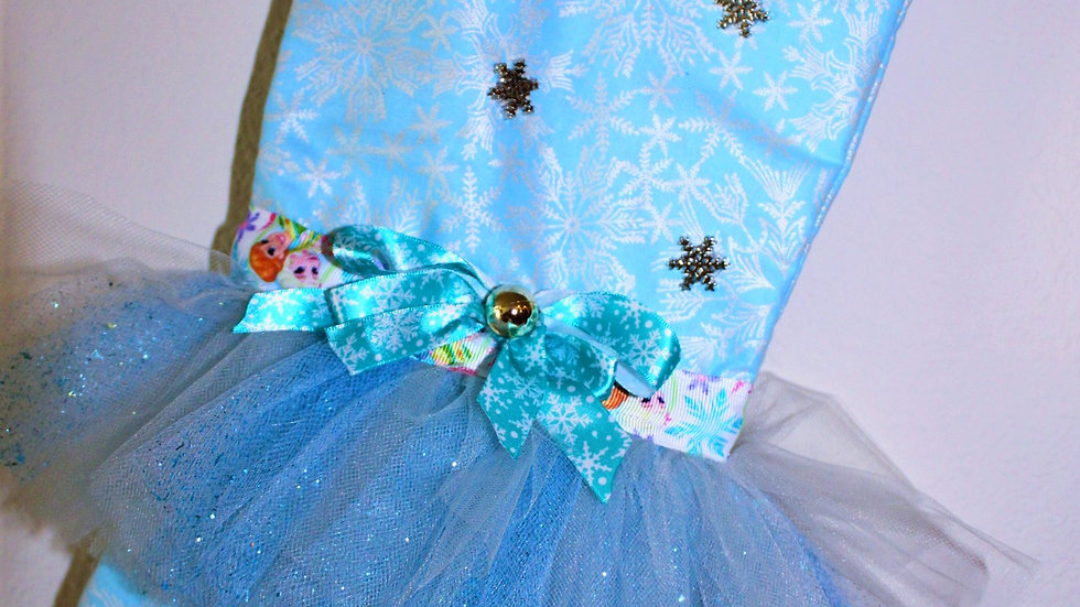 Personalized Christmas stocking aqua blue snowflake frozen princess