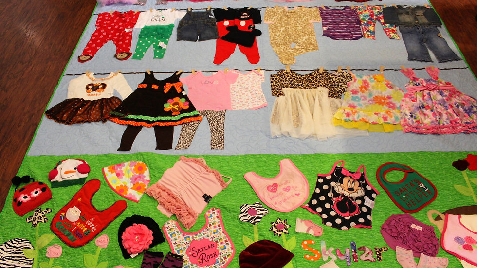 Full Size baby clothes line memory quilt handmade 1st year clothing quilts