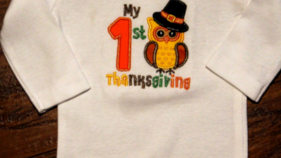 Owl 1st Thanksgiving bodysuit personalized baby boy first Thanksgiving shirt