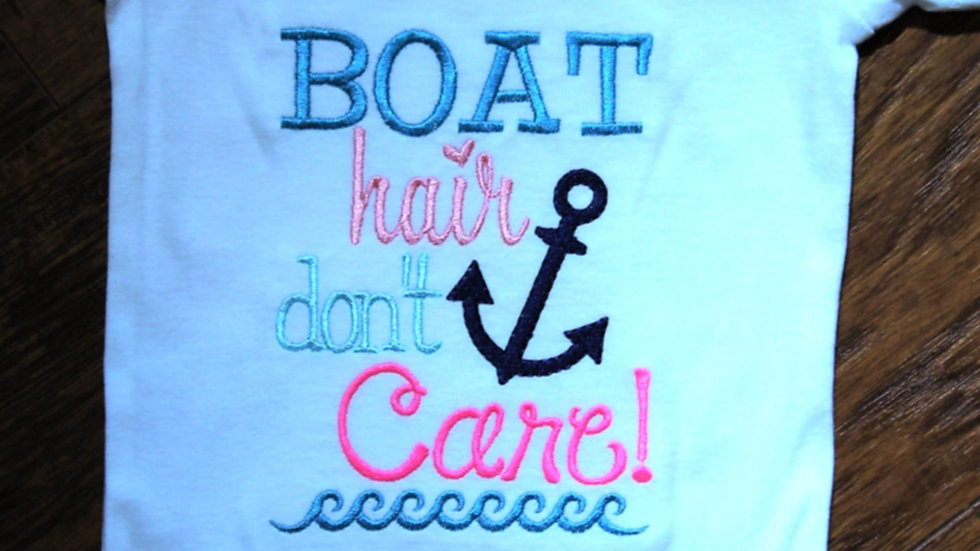 Boat hair Don't care nautical baby girl bodysuit