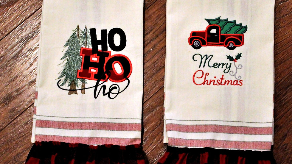 Christmas kitchen towels Farmhouse style red and black buffalo check home decor