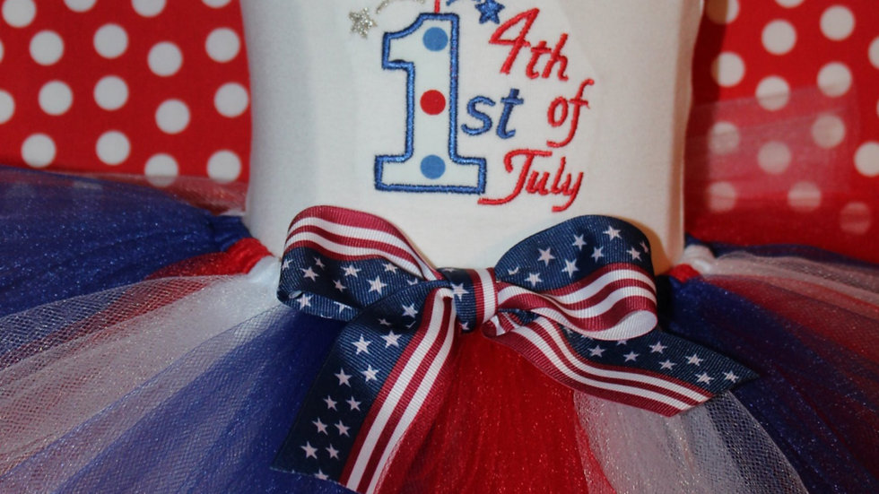 Personalized 1st 4th of July baby girl outfit red white and blue tutu