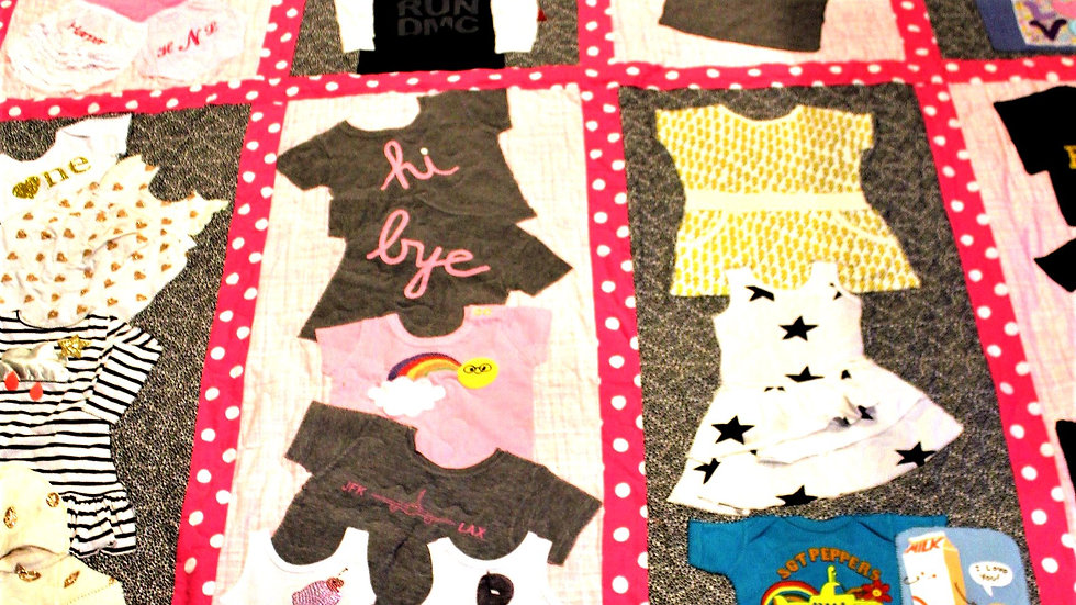 Full Size baby clothes quilt with sashing strips and borders kids clothing quilt