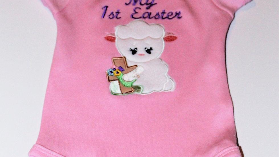 Baby girl pink 1st Easter bodysuit