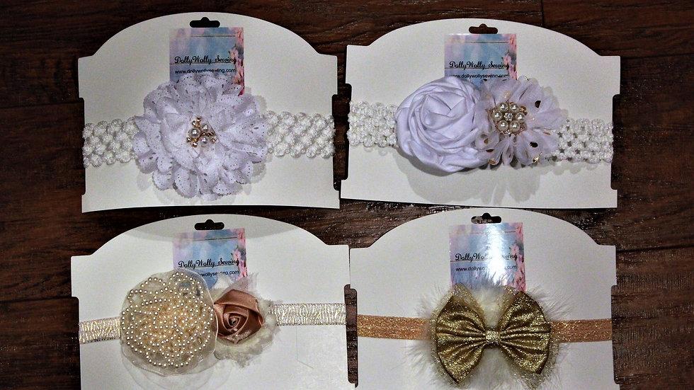White eyelet headband Ivory gold beaded metallic headbands