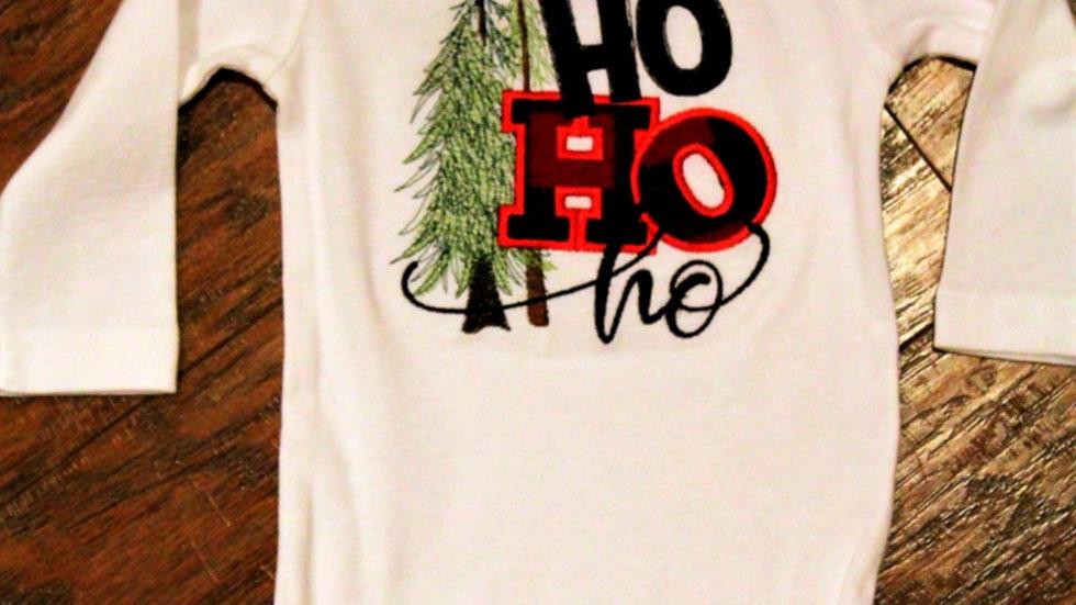 Ho Ho ho baby Christmas shirt baby boy red black check bodysuit