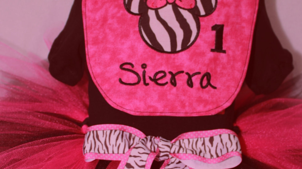 Hot pink and black zebra Mouse 1st birthday outfit first birthday party