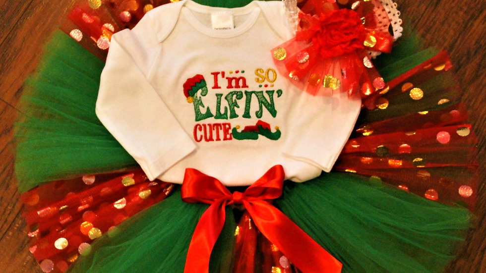 I'm so elfin' cute baby girl Christmas outfit red and green tutu