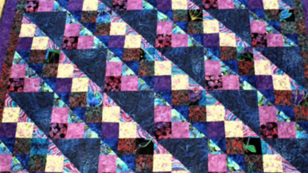 Twin size personalized girl handmade quilt purple lavender royal blue turquoise