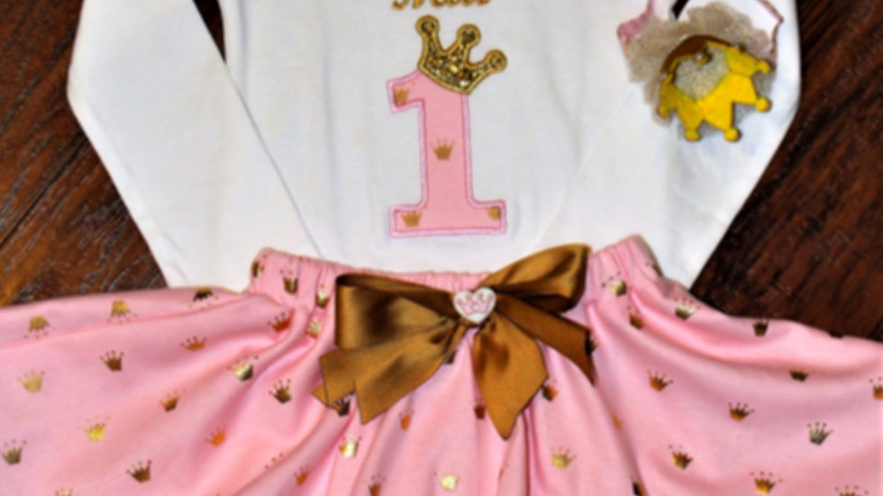 Princess personalized 1st birthday outfit first birthday pink and gold  birthday