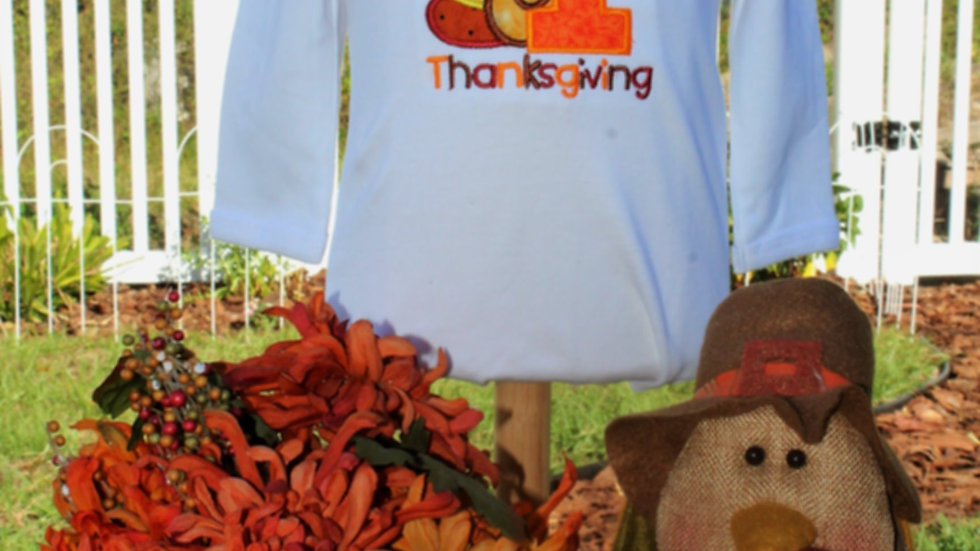 1st Thanksgiving personalized turkey bodysuit fall color baby girl shirt