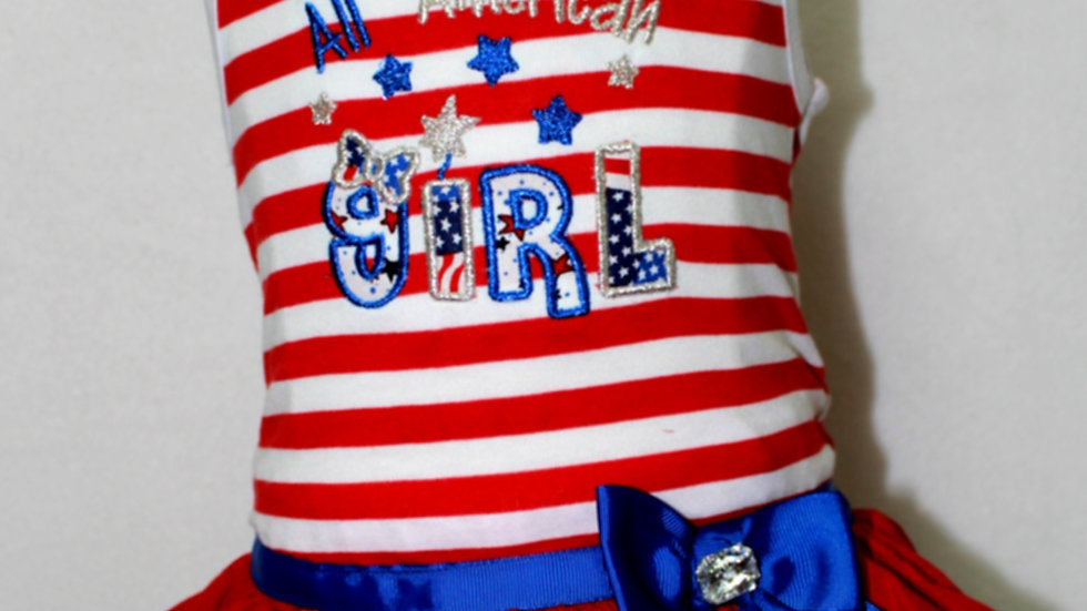 Patriotic 4th of July dress All American girl red white and blue sundress