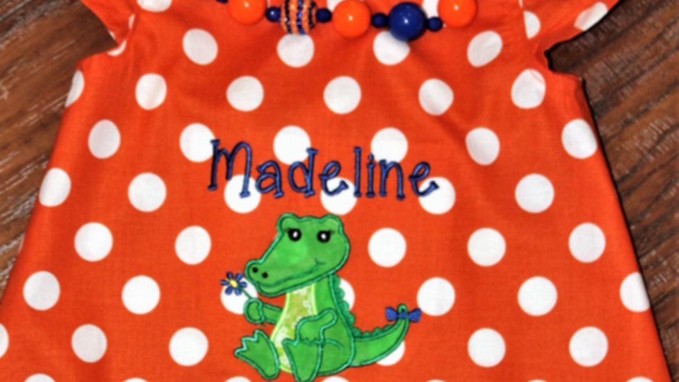Baby gator girl dress orange and blue girls necklace orange sundress