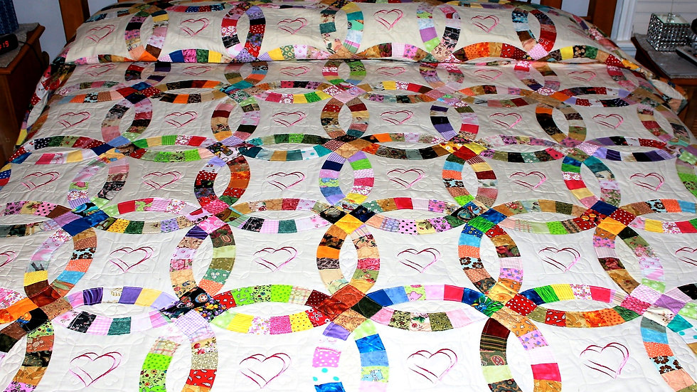 Personalized double wedding ring quilt wedding gift handmade quilts
