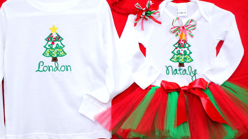 Sibling Christmas outfits personalized girl and boy Christmas tree shirts