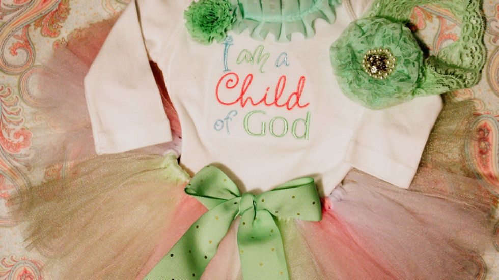 I am a child of God baby blessing outfit, baptism bodysuit baby tutu
