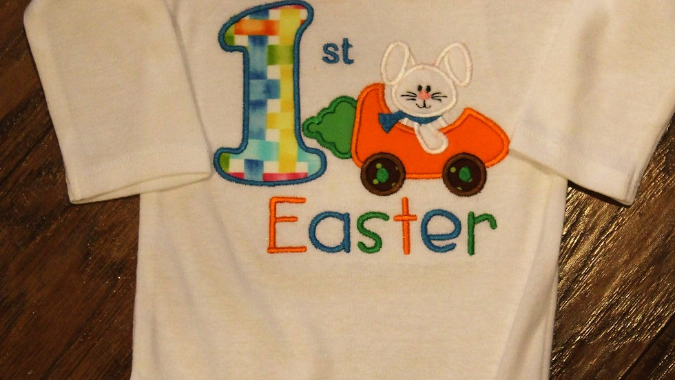 Baby boy My 1st Easter bodysuit personalizedbunny rabbit shirt