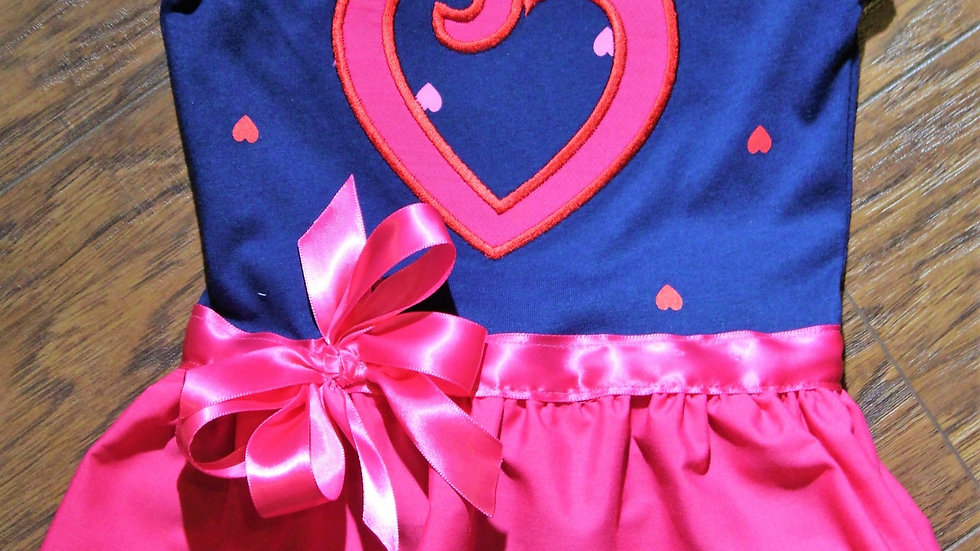 Pink Heart Valentine's Day baby girl dress navy blue and hot pink