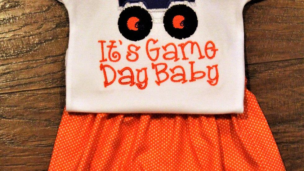 Boy Monster truck football shirt orange and blue game day bodysuit