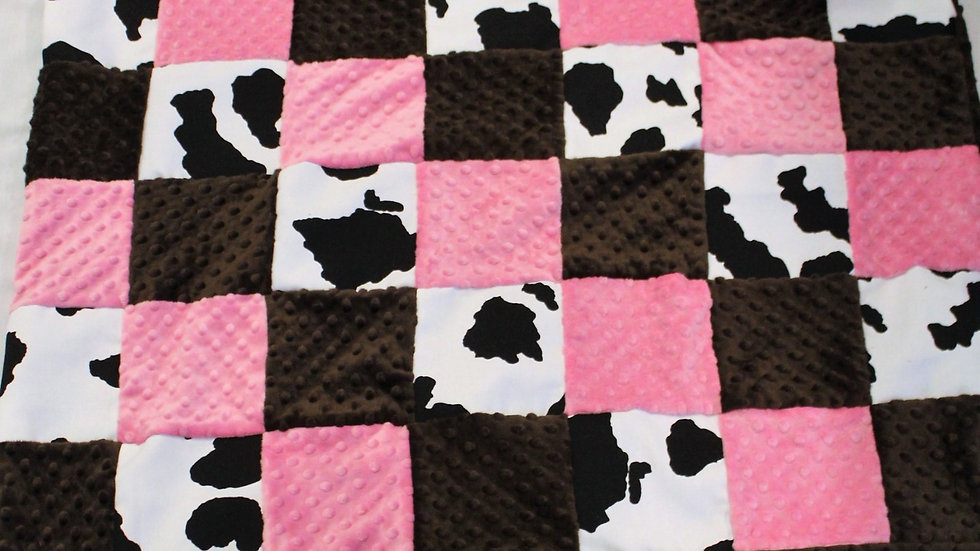 Cow print baby blanket pink and brown minky patchwork baby crib size